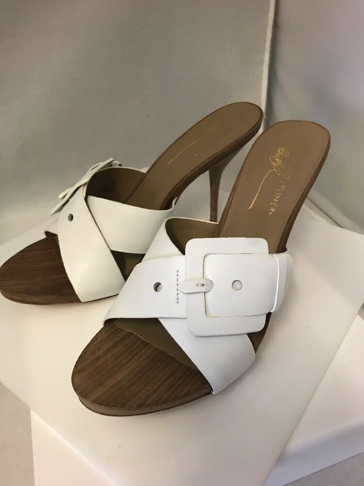 Donald J PLiner Elaine White Leather Heel Sandal Open Toe SZ 10 Authentic NIB