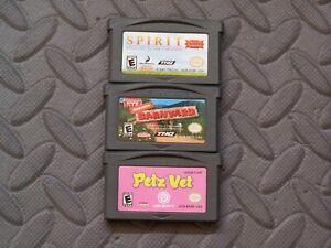 Lot Nintendo Game Boy Advance GBA Games Spirit: Stallion + Barnyard + Petz Vet
