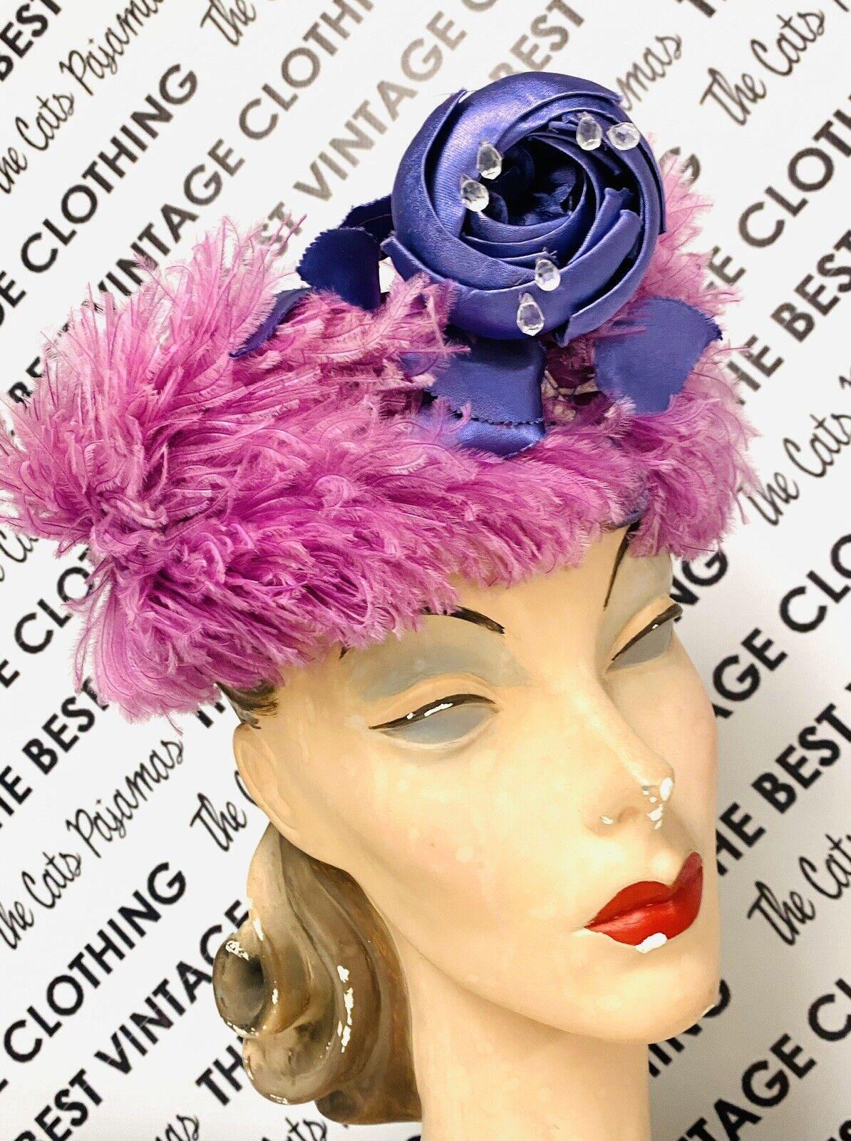 VINTAGE 1940's SUZY LEE Purple Feather Flowers Ha… - image 10