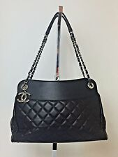 CHANEL Large Black Quilted Lambskin Leather Shopper Tote Shoulder Bag 15C $4500
