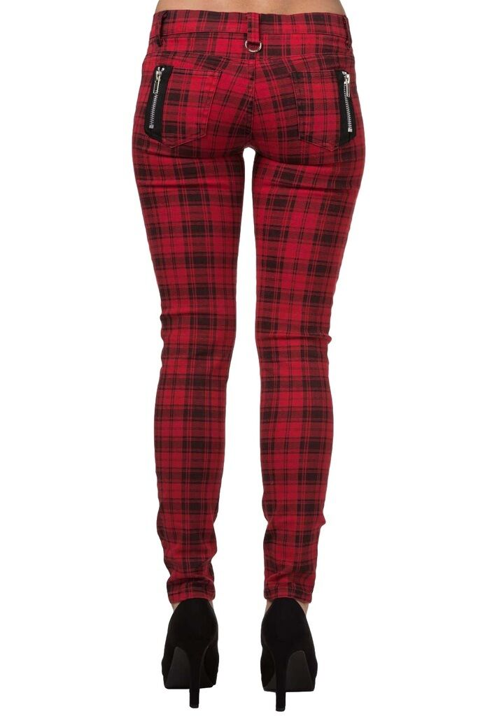BANNED alternative TARTAN SKINNY JEANS red PUNK emo PLAID TROUSERS