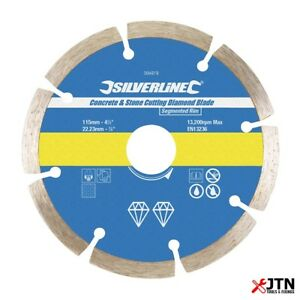 Silverline-394979-beton-amp-Stone-Cutting-Diamant-Disque-De-Coupe-115-mm-x-22-23-mm