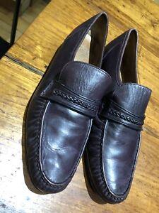 Grenson Inghilterra a 10 in 5 pelle Scarpe Vero vintage cucito Borgogna mano in Mocassino Misura zfSU6HwZw