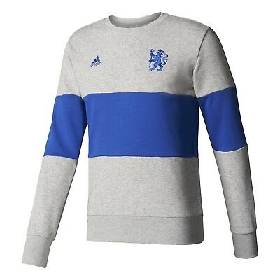 adidas Chelsea FC Men/'s Official Crew Sweat Shirt Grey//Blue New Small