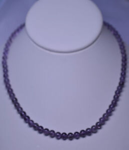 New Genuine Amethyst 4 6 Mm Round Bead Necklace 16 5 Inches Long Ebay