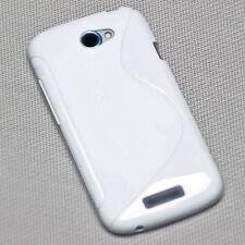 RUBBER SILIKON TPU HANDY COVER CASE WEIß f. HTC ONE S VILLE + Displayschutzfolie