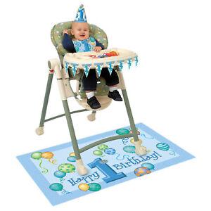 Unique 1st Birthday High Chair Kit Bib Mat Cone Hat Banner Blue