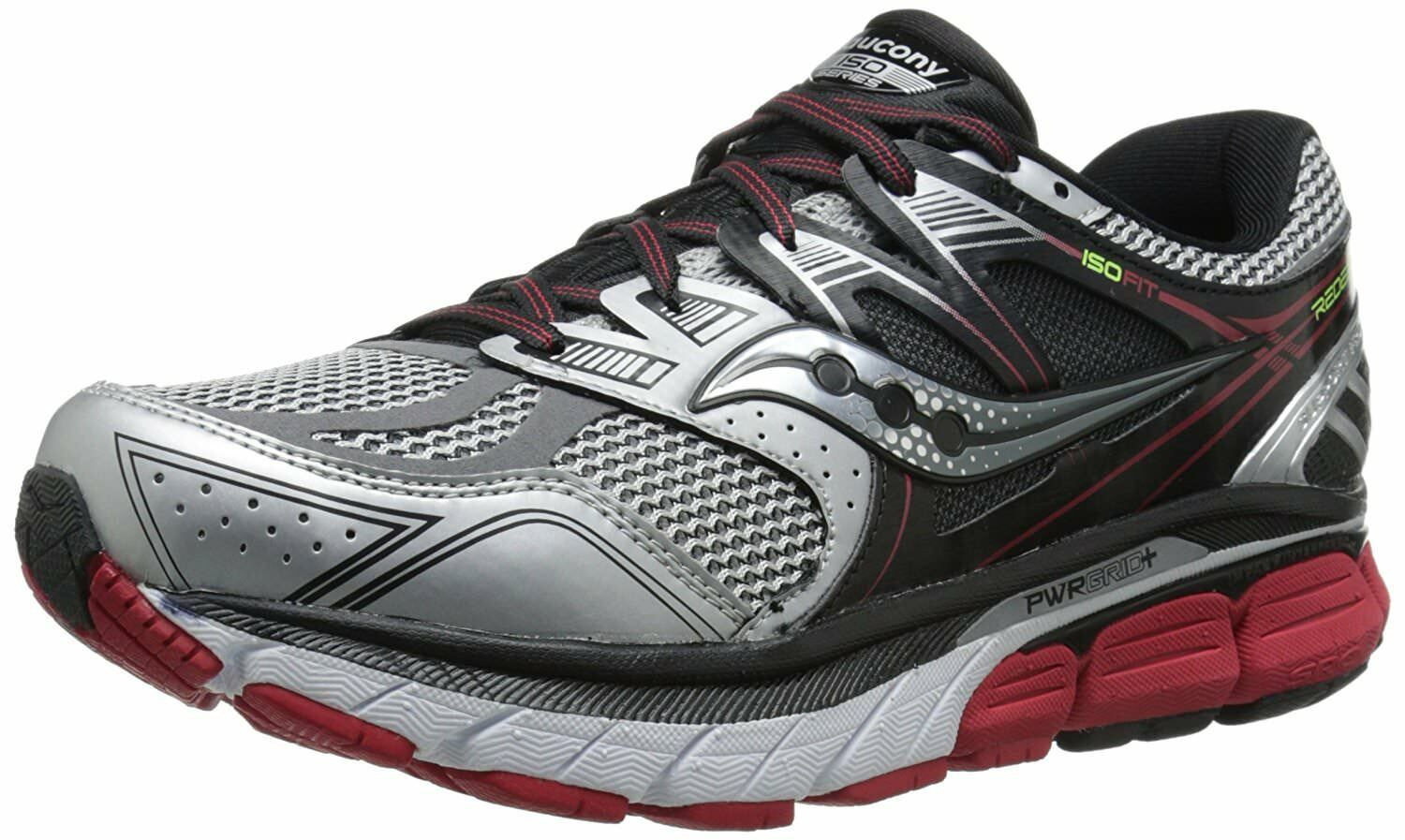 Saucony Men's Redeemer ISO Running Shoe, Silver/Black/Red,11 M US
