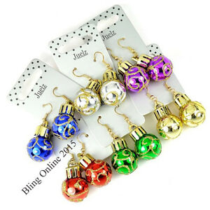 Image Is Loading 6pc CHRISTMAS BAUBLE EARRINGS NOVELTY FUN XMAS TREE