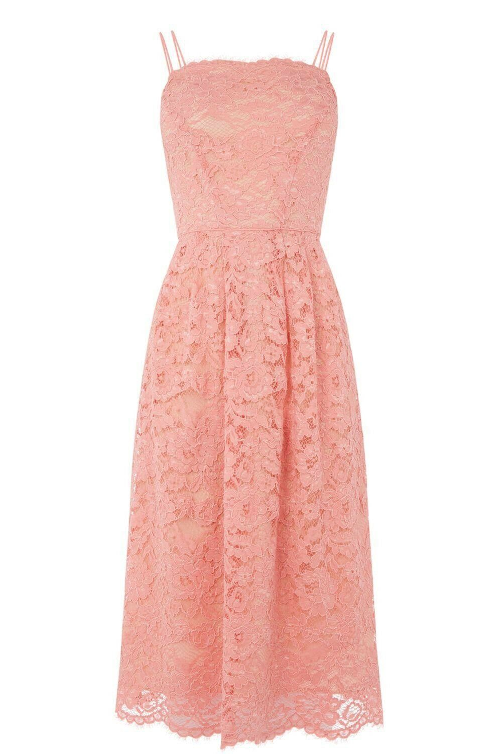 BNWT OASIS LADIES PINK LACE CAMI MIDI OCCASION DRESS SIZE 10 - BRAND NEW RRP