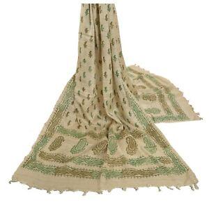 Sanskriti Vintage Dupatta Long Stole Handloom Khadi Cream Shawl Printed Hijab