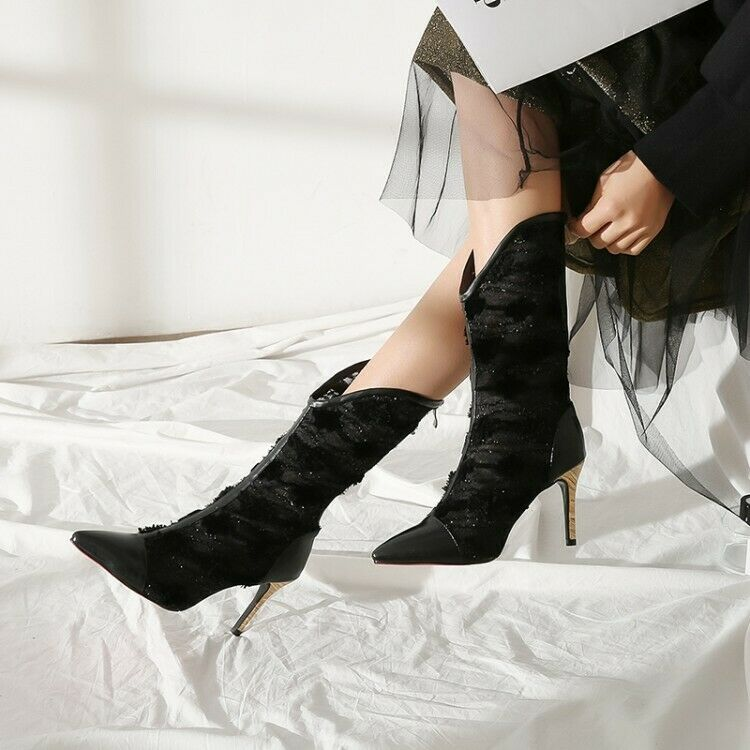 Donna Pointed Toe Mesh Back Zip Stiletto Heel Mid Calf Calf Calf stivali Party Work scarpe ff463e