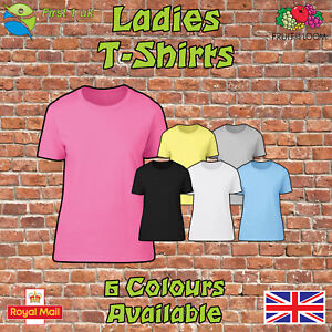 Fruit-of-the-Loom-Cotton-Plain-Blank-Ladies-Womens-Tee-Shirt-Tshirt-T-Shirt-New