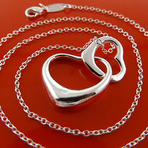 Necklace-Chain-925-Sterling-Silver-S-F-Real-Solid-ladies-Heart-Pendant-Design