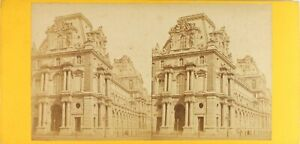 Francia-Parigi-il-Louvre-Foto-Stereo-Vintage-Albumina-Ca-1870