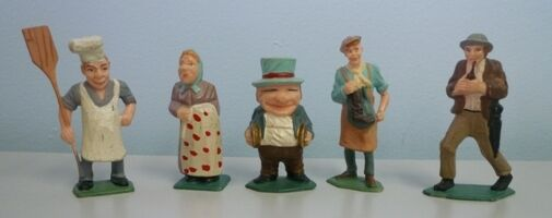 1960's Lot of 11 Louis Marx Bavarian Village Hard Plastic Painted Figurines