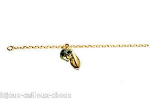 Humour Bracelet Fin Couleur Or Breloque Cristal Vert Et Feuille Bijou SuppléMent éNergie Vitale Et Nourrir Yin