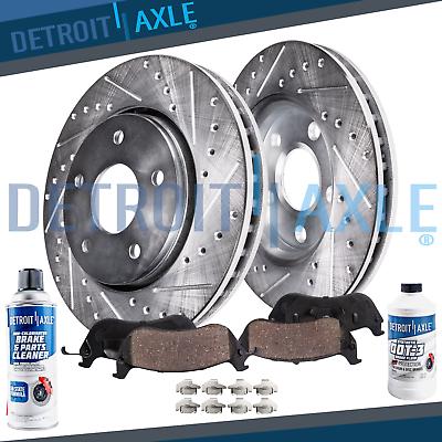 For Skylark Beretta Pontiac Front Drilled SlottedBrake Discs Rotors Ceramic Pads