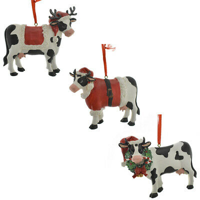 Christmas Cow.Resin Christmas Cow Ornaments 3 1 2 Inch 3 Piece 748708729549 Ebay