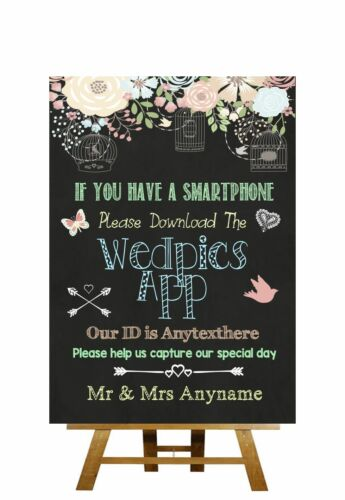 Shabby Chic Pretty Chalkboard Style Wedpics App Photo Personalised Wedding Sign