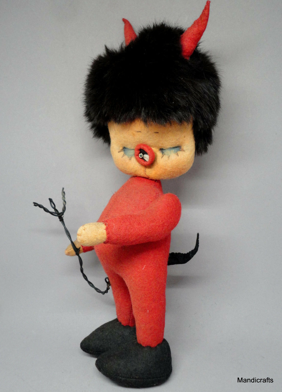 Kersa rot Felt Sculpted Lil Devil Doll 26cm 10in Rabbit Fur Hair Germany Vtg