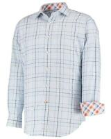 Thomas Dean Check Print Long Sleeve Shirt With Contrasting Plaid Trims Med