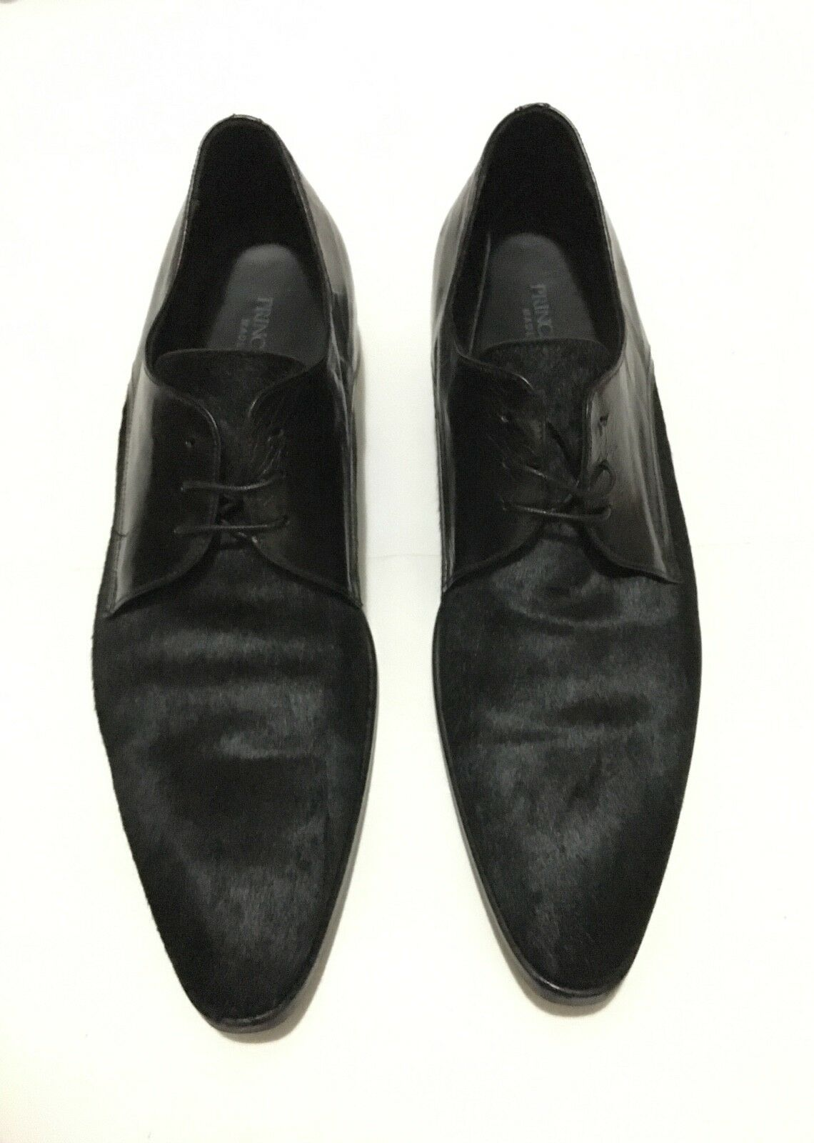 Prince Oliver Black black Pony Leather Dress Oxford Derby shoes EU41 UK7.5