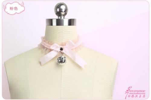 Women/'s Noeud Big Bell Collier étrangleur cuir rose blanc cloches Lolita Cute