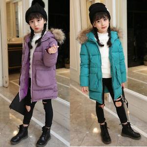36c28925c Kids Girls Padded Coat Puffer Down Jacket Warm Fur Winter Outerwear ...
