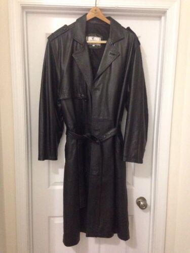 Black Mens Black Leather Trench Coat Size Mens 46