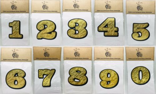 "6"" NUMBER DECAL 0-9 GOLD LEAF Vinyl knucklehead panhead shovelhead motorcycle"