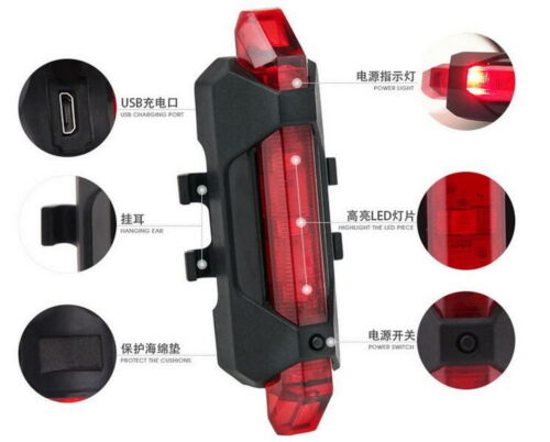 Portable Cycling 5 LED USB Rechargeable MTB Bike Bicycle Rear Back Light Lamp