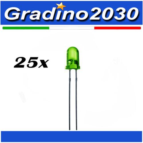 Arduino Progetti 25x Led Diodi Emettitori Punta Colorata 5mm Colore Verde