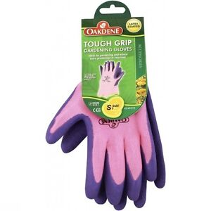 High Quality Heavy Duty Gardening Gloves OAKDENE Tough Grip Small Pink Size 7