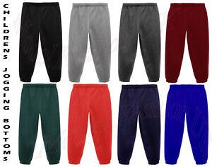 JOGGING BOTTOMS - Kids Warm Fleece Style Plain Joggers Bottom Pants ... 2e7cfb3be214