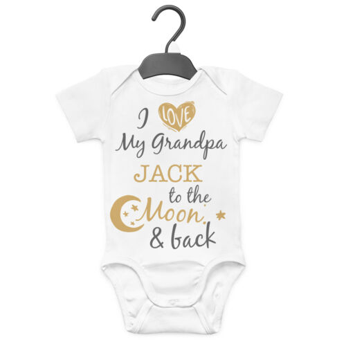 I LOVE MY GRANDPA TO THE MOON PERSONALISED BABY GROW VEST CUSTOM FUNNY GIFT CUTE