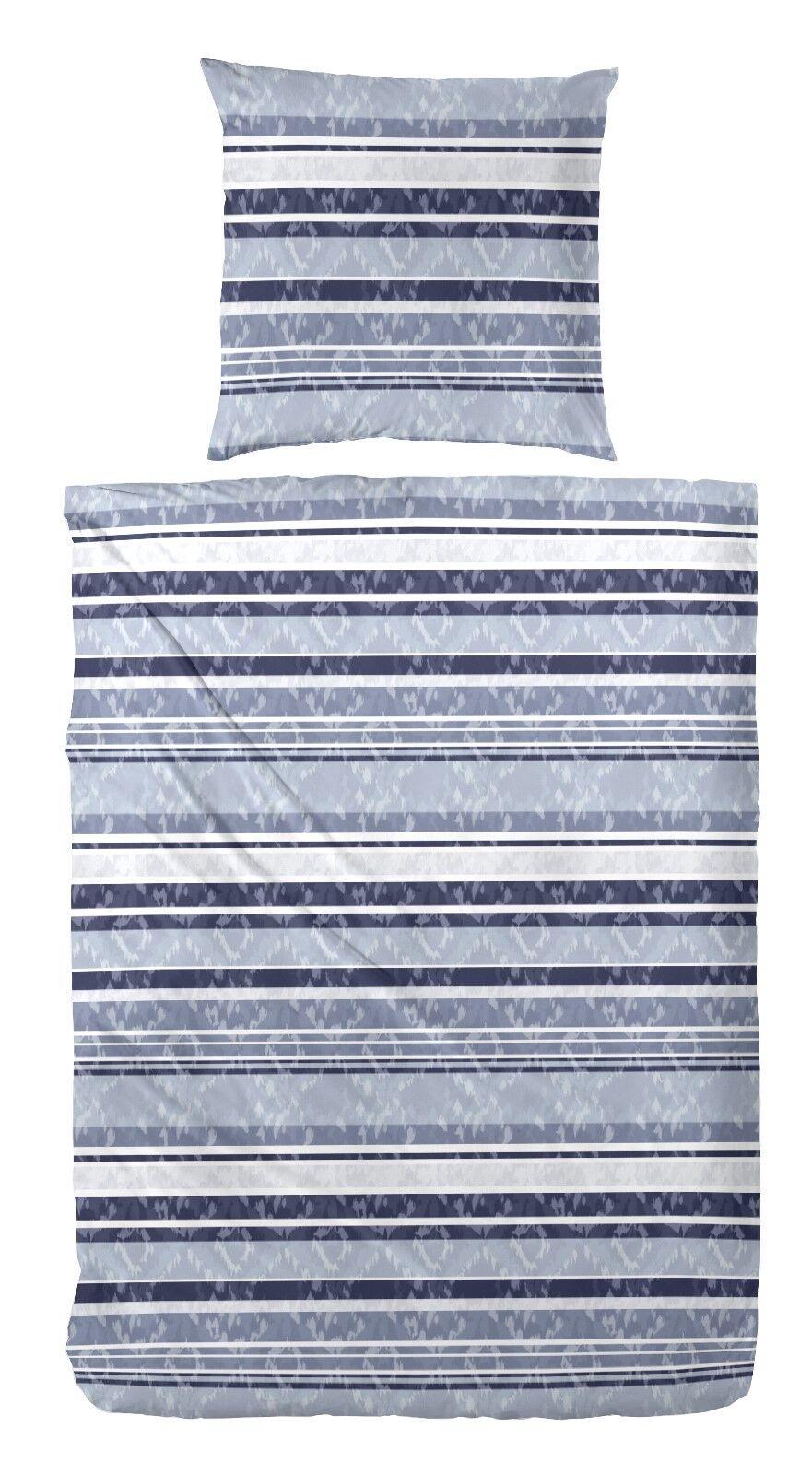 4 tlg. Biber Bettwäsche Streifen blau aqua 2x80x80+155x220 cm  172109 033B04