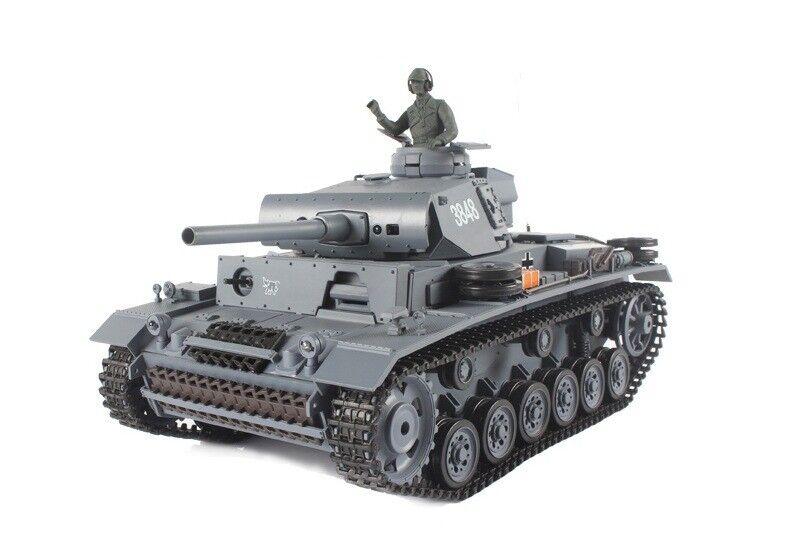 2.4Ghz 1 16 German PanzerKampfwagen III RC Battle Tank w Smoke & Sound R C RTR