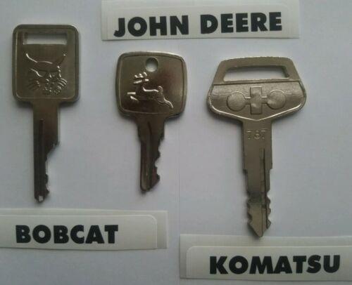 3 Heavy Equipment Key Set 3 Keys Bobcat Case John Deere AR51481 Komatsu 787