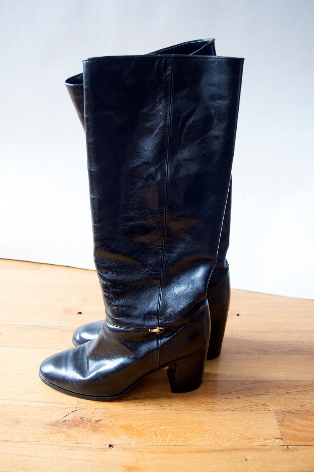 Vintage GUCCI Black Leather Knee High Riding Boots with Horsebit