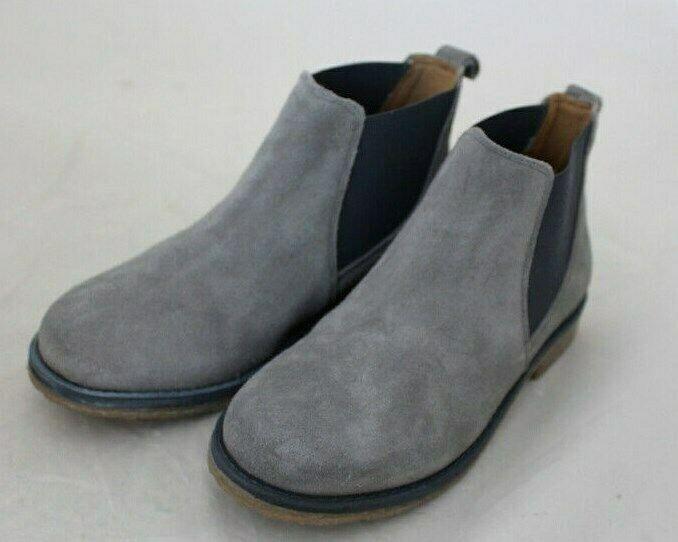 Wow Alba Moda señora botín chelsea bota cuero Velour gris deslizamiento q41