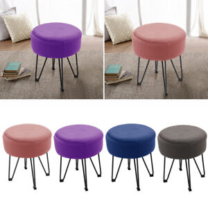 Stool With Velvet Fabric Padded Seat Vanity Chair Dressing Table Stool