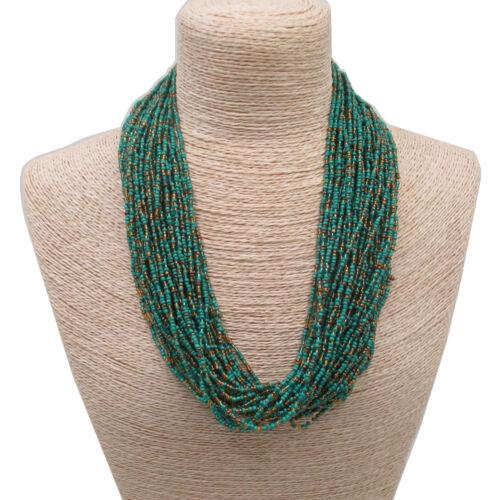 Handmade Multistrand Braided Seed Beads Beaded Necklace Ethnic Women Jewelry