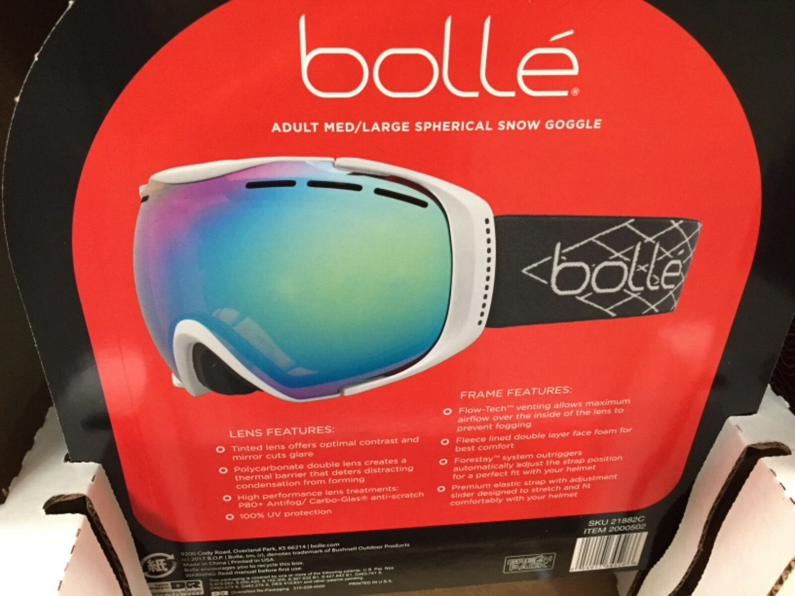 Bolle Adult Med Large Winter Sports Spherical Snow Goggle