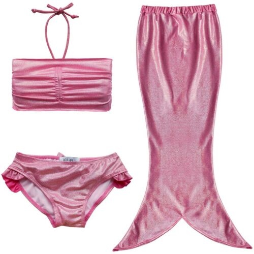 3Pcs Kids Girls Swimwear Mermaid Tail Swimmable Swimsuits Bikini Sets Beachwear