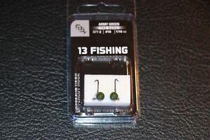 Pack of 2 #10 1//16 oz Hook Ice Fishing Jig 13 Fishing Dude Jig Army Green