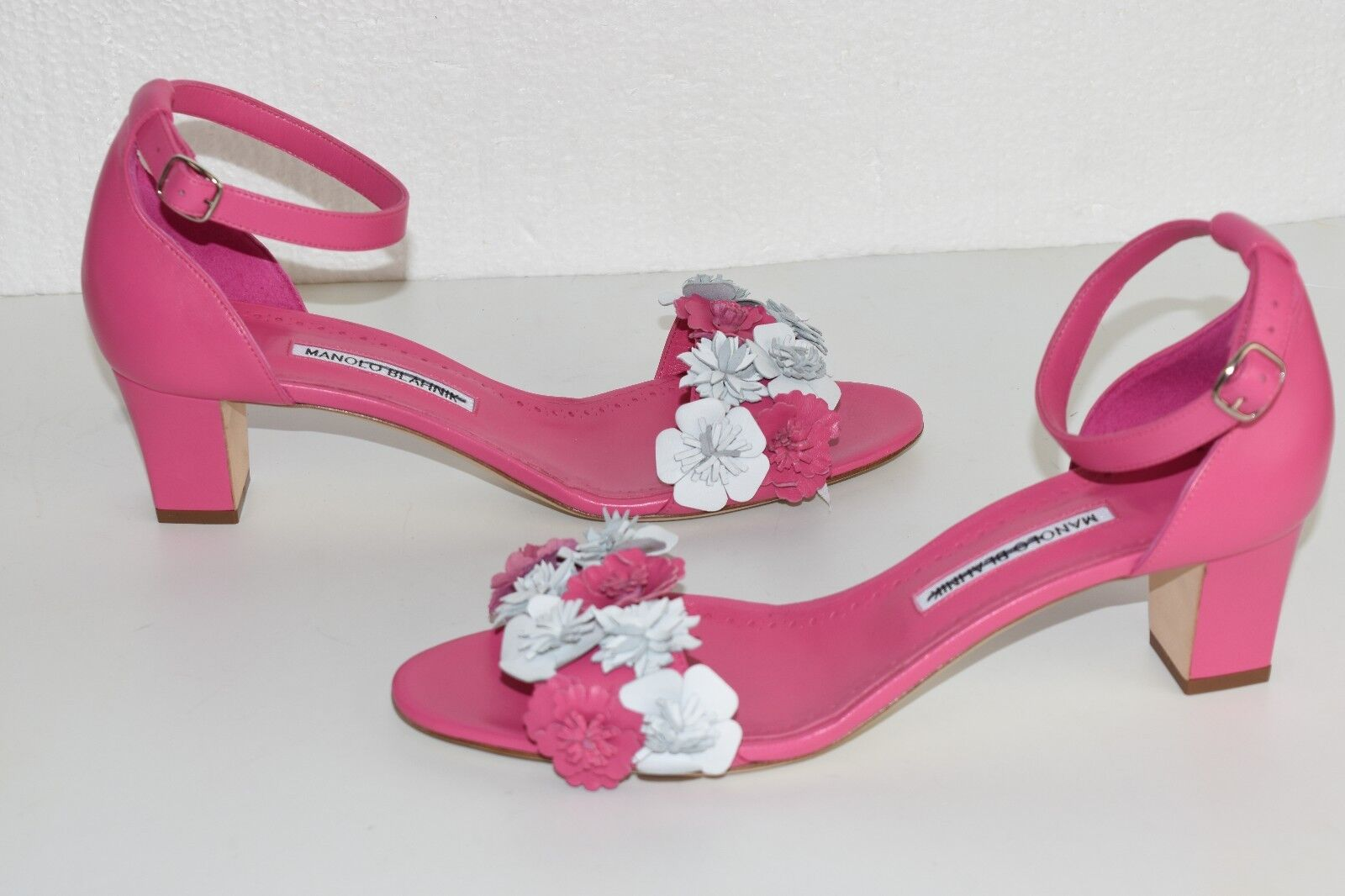 895 New Manolo Blahnik Laurfior 50 rose Flower Floral Floral Floral Sandals chaussures 41 41.5 c96d9c