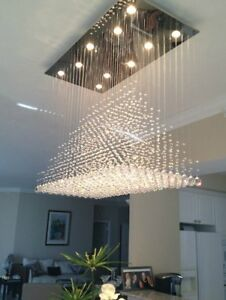 the best attitude 3a76e 32eee Details about Modern Rain Drop Chandelier Lighting Flush Mount Ceiling  Lights for Dining Room