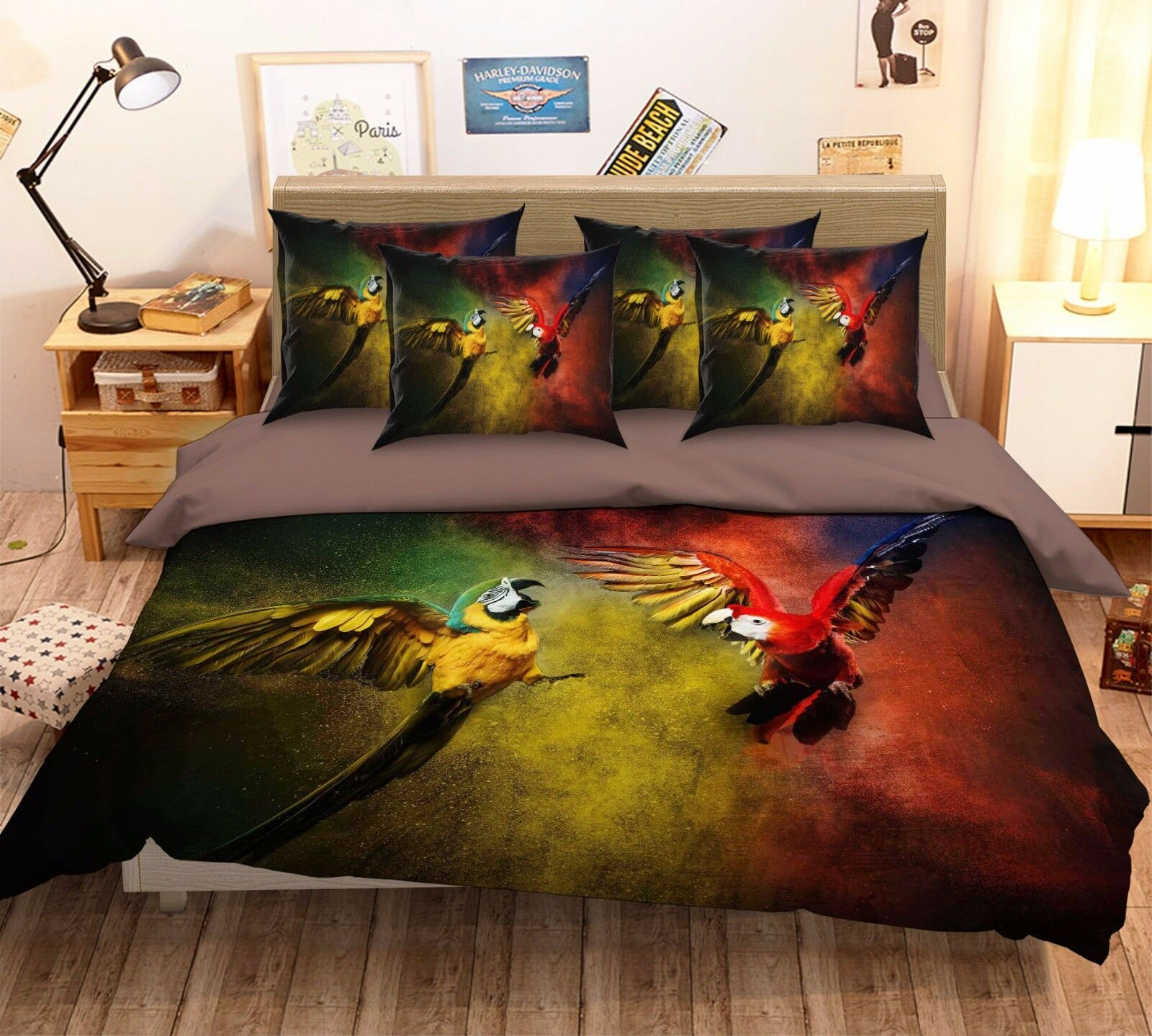 3D Fly Parrots 2 Bed Pillowcases Quilt Duvet Cover Set Single Queen King Größe AU