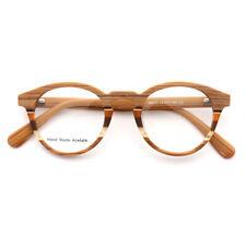 Wood Grain Round Eyeglass Frames Retro Vintage Glasses Men Women Acetate Fashion